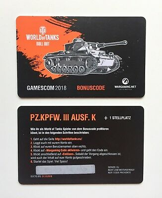 World of Tanks PZ.KPFW. III AUSF. K + 1 Stellplatz Code Gamescom 2018 WOT