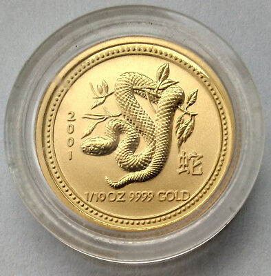 2001 1/10 oz Gold Year of the Snake .9999 BU in Capsule - No Reserve