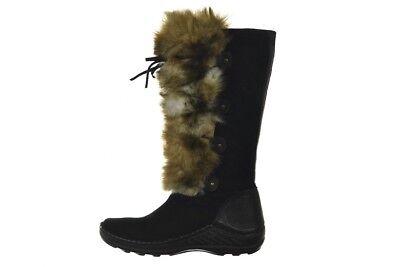 41813ea1ba1 Charles David Womens Shoes Size 38 7 Black Solid Suede Fur Snow Winter Boots