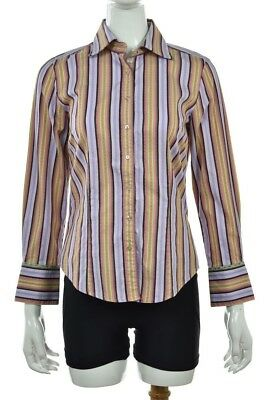 5e08a1da Robert Graham Womens Top Size M Purple Striped Blouse Cotton Button Down  Shirt