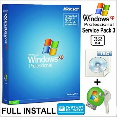 Windows XP PROFESSIONAL SP3 English 32-bit iso + Lisence Key Instant Delivery