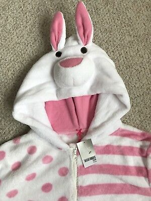 Next . Bunny Girls Pink Fluffy Fleecy Sleep Suit All-in-One. 14 years. BNWT New
