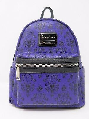 Disney Parks Loungefly Mini Haunted Mansion Backpack Purple Wallpaper Purse Bag