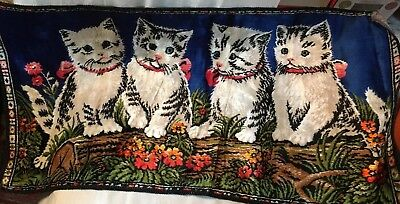 "1930s TAPESTRY OF FOUR LITTLE KITTENS~SITTING ON A LOG~SO Cute! 38"" x 19""!"