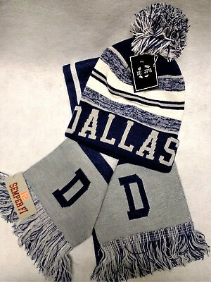 """Dallas Cowboys  Team Color """"SUPER""""  Scarf and Pom  Beanie knit hat Gift Set"""