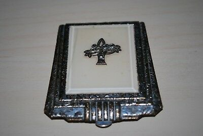 Vintage Silver Plated Mirrored  Powder Compact Circa 1920's