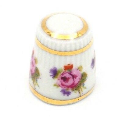 Old Vintage Collectible Small Porcelain Thimble with Floral Motif And Gold Tone