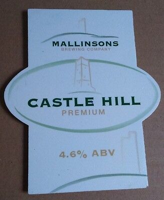 Beer pump badge clip MALLINSONS brewery CASTLE HILL ale pumpclip front Yorks