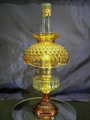 ALADDIN Clear/Amber CORINTHIAN Oil Lamp Lox-On Chimney Model B Burner and Shade