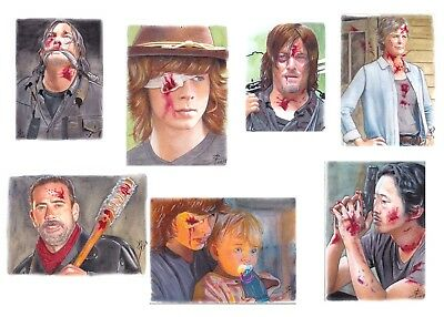 Original Art Drawing Sketch Card Traiding Card The Walking Dead Set Of 7 Tv Show
