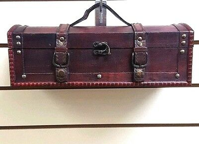 Antique Style Long Treasure Chest Trinket Jewelry Memmories Box Leather Strap