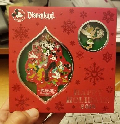 Happy Holidays 2018 Disneyland Resort Annual Passholder Ornament and pin set