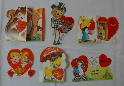 Vintage Lot of 6 Valentines 1940-50's Die-Cut Fold-out