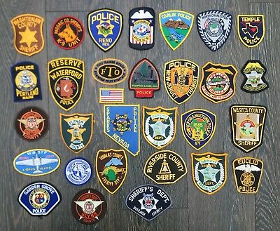 Collection of 30 old US Police and Sheriff shoulder patches inc K-9 Units