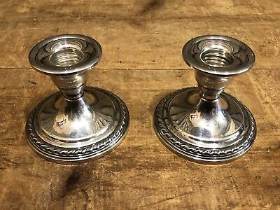 Beautiful Vintage Pair Of La Pierre Sterling Candlesticks Candle Holders