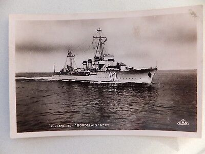 """1940 French Navy vessel postcard - """"Bordelais"""" - not posted - C.A.P."""