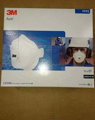 3m aura 9322+ valved dust mask respirator FFP2-box of 10 made in uk,good price,