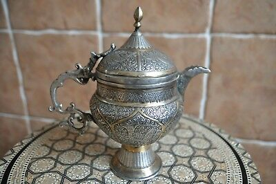 Ancient Persian pitcher. Persia 19th century. Silver inlaid