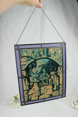 French stained glass window vintage