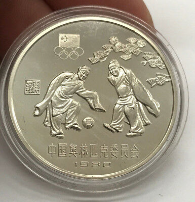 1980 China Olympics 30 Yuan Soccer Silver Proof Coin - BU In Capsule