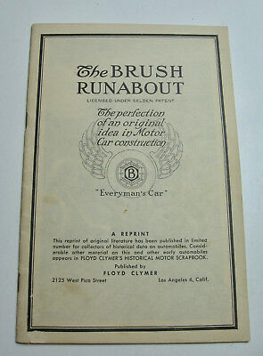 Reprint of 1911 Era Brush Runabout Automobile Booklet