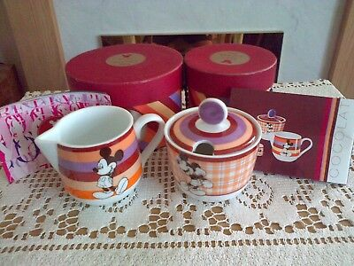 "Disney  Best Of Mickey "" Cocolate "" Lidded  Sugar Bowl & Milk Jug Set. New"