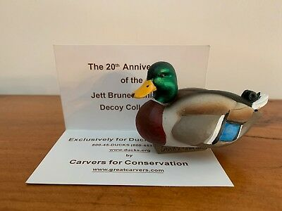 Jett Brunet 2018 Ducks Unlimited Miniature Decoy MALLARD LIMITED EDITION - New!