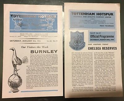 Spurs 2 Football Progs Burnley FA Cup 5/1/63 Reserves v Chelsea Reserves 20/3/65