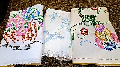 BEAUTIFUL LOT of 3 Vintage Runners Dresser Scarfs EXCELLENT Condition