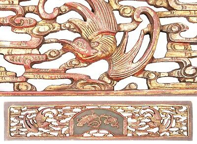 Antique Chinese Qing Carved Wood Panel Gold Gilt Lingzhi Phoenix Temple China