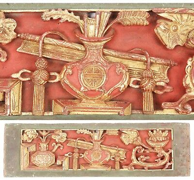 Antique Chinese Qing Carved Wood Panel Gold Gilt Vase Flowers Temple China Old