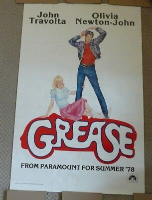 Grease movie poster Vintage 1978 / LITHO. USA, GAU, Travolta / Newton-John