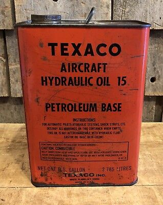 Vintage TEXACO Aircraft Hydraulic Oil Petroleum Base 1 Gallon Metal Can