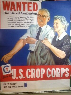 """Original Wwii Poster """"wanted Town Folks With Farm Experience """" U.s. Crop Corps"""