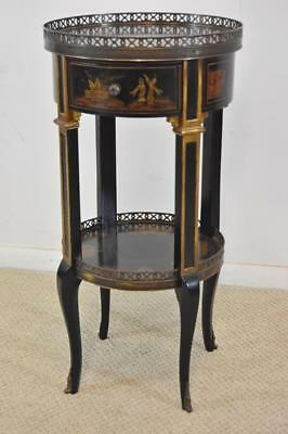 Theodore Alexander Asian Black Laquer Chinoiserie Stand Single Drawer
