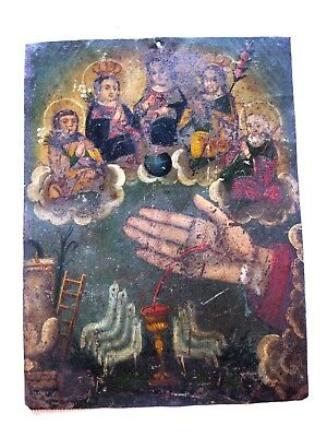 Original Antique Retablo On Tin Of La Mano Poderosa [The All Powerful Hand]