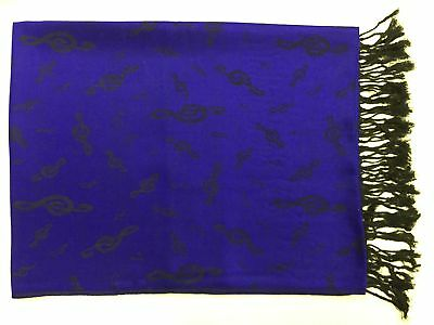 Royal Blue Pashmina Cashmere Wool Scarf Music Clef Notes Women Ladies Gift