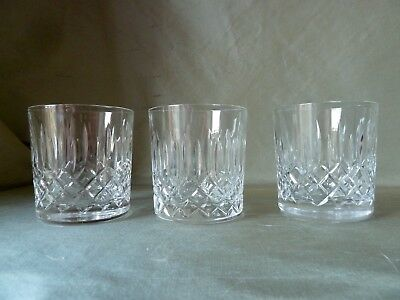 "3 Edinburgh Crystal Appin Cut Whisky Glasses, Signed With Old Mark, h7,7cm (3"")"