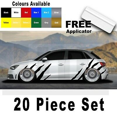 Audi A1 A3 A4 A5 A6 A7 S1 RS1 Tiger Side Stripes Graphics Stickers Decals