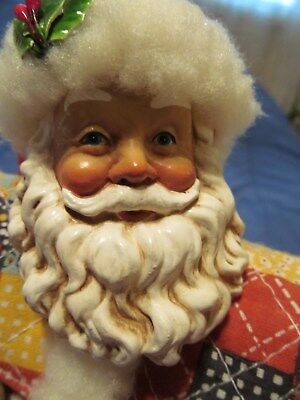 "VINTAGE - 10"" CLOTHTIQUE - *SANTA FIGURINE Holding BEAR & DOLL* ... wTAG"