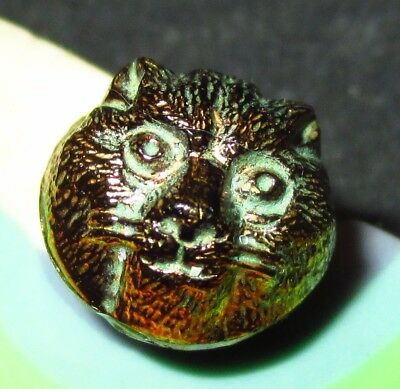 ANTIQUE VICTORIAN BLACK GLASS BUTTON - RARE REALISTIC CAT FACE w GOLD LUSTER