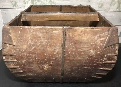 Primitive Antique Chinese Asian Wood Dou Basket Box Great Decorative Item!