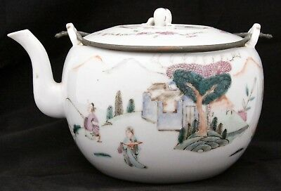 Antique Chinese Export Porcelain Famile Rose Tea Pot Qing Dynasty Mark People