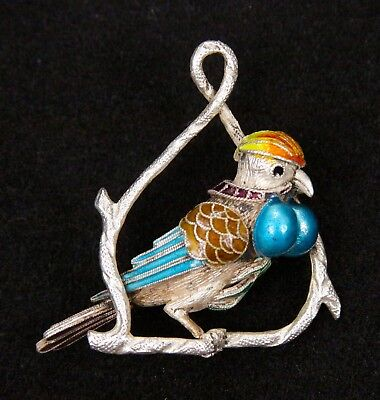 Vintage Chinese Sterling Silver Enameled Bird Pendant Cloisonne Charm Jewelry
