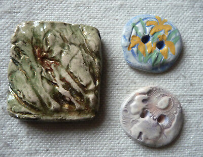 NEW Hand-Crafted CERAMIC BUTTONS TWO 2-hole Buttons + Ceramic piece for wirewrap