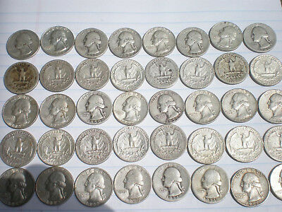 1 Roll Of Silver Us Quarters 1930's-1950's.   Free Shipping!!!no Junk Or Holes