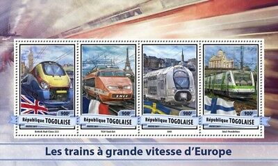 Z08 Imperforated TG17112a Togo 2017 European Speed Trains MNH Mint