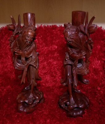 MATCHING PAIR of Antique Chinese Carved Wood Figures (Eight Immortals)