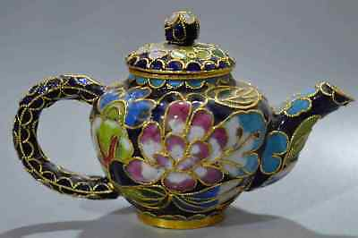 Chinese Collectable Handwork Cloisonne Carve Charming Flower Royal Noble Tea Pot