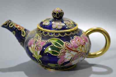 Delicate Chinese Cloisonne Hand Carve Beauty Flower Royal Collectable Tea Pot